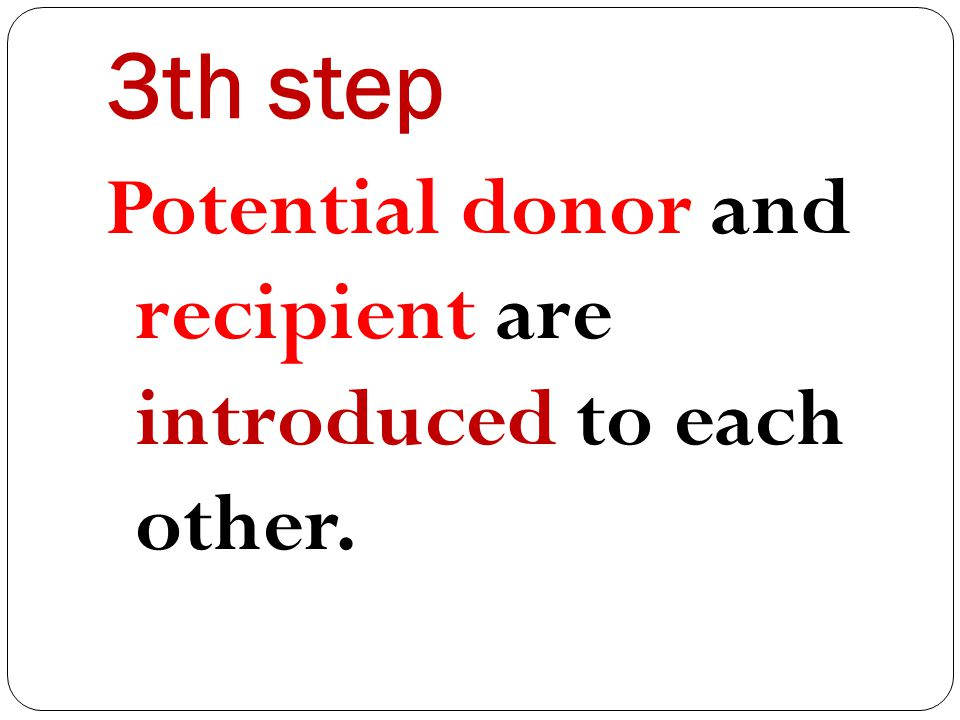 3th step Potential donor and recipient are introduced to each other.