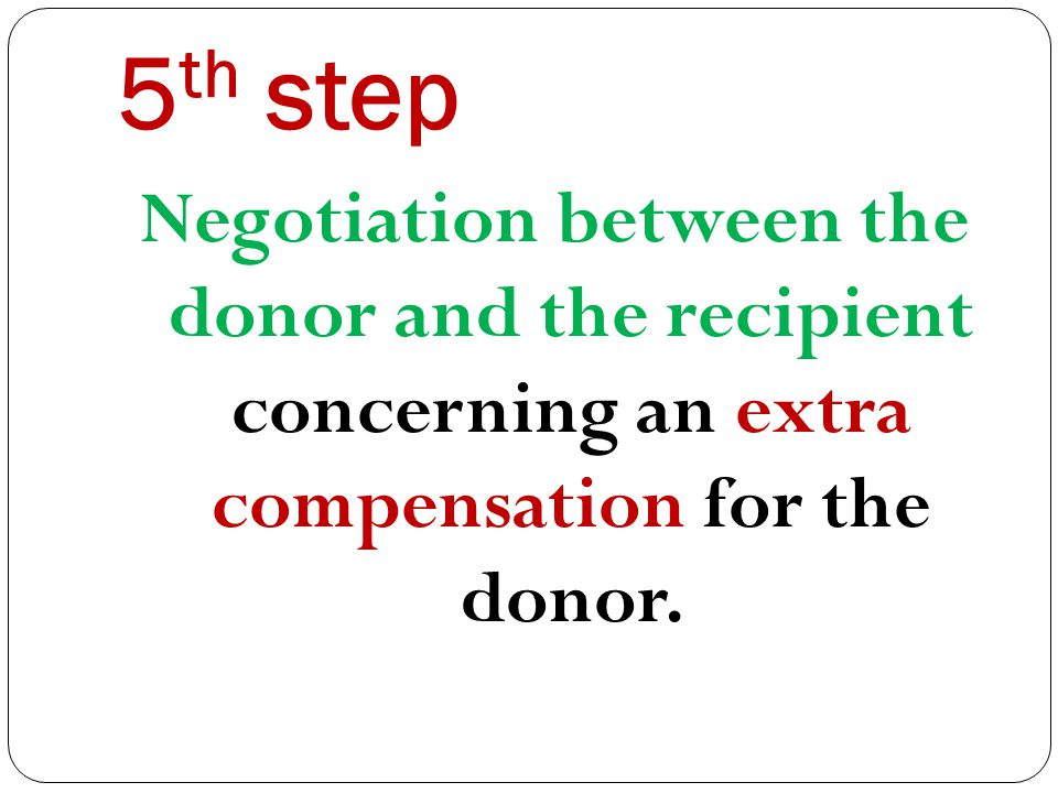 5 th step Negotiation between the donor and the recipient concerning an extra compensation for the donor.
