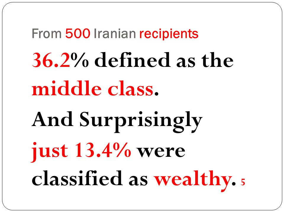 From 500 Iranian recipients 36.2% defined as the middle class.