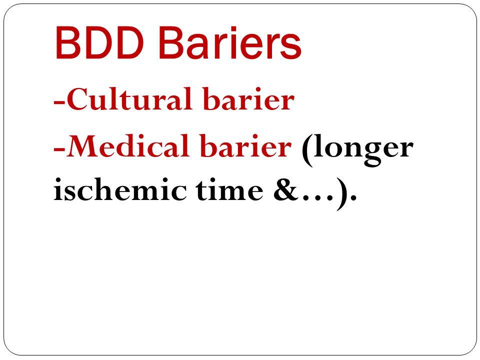 BDD Bariers -Cultural barier -Medical barier (longer ischemic time &…).