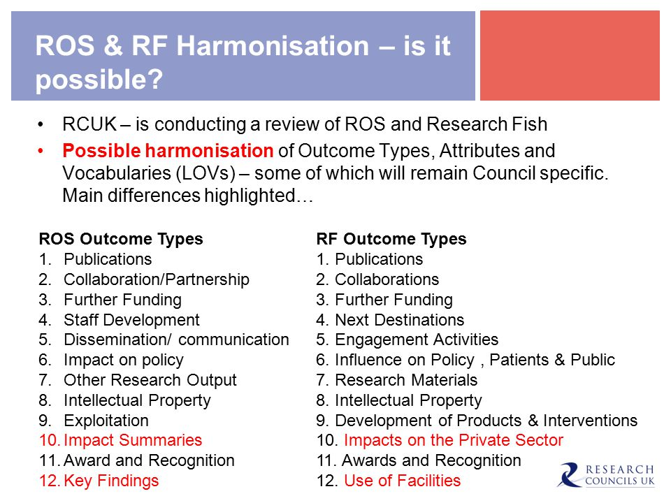 ROS & RF Harmonisation – is it possible.