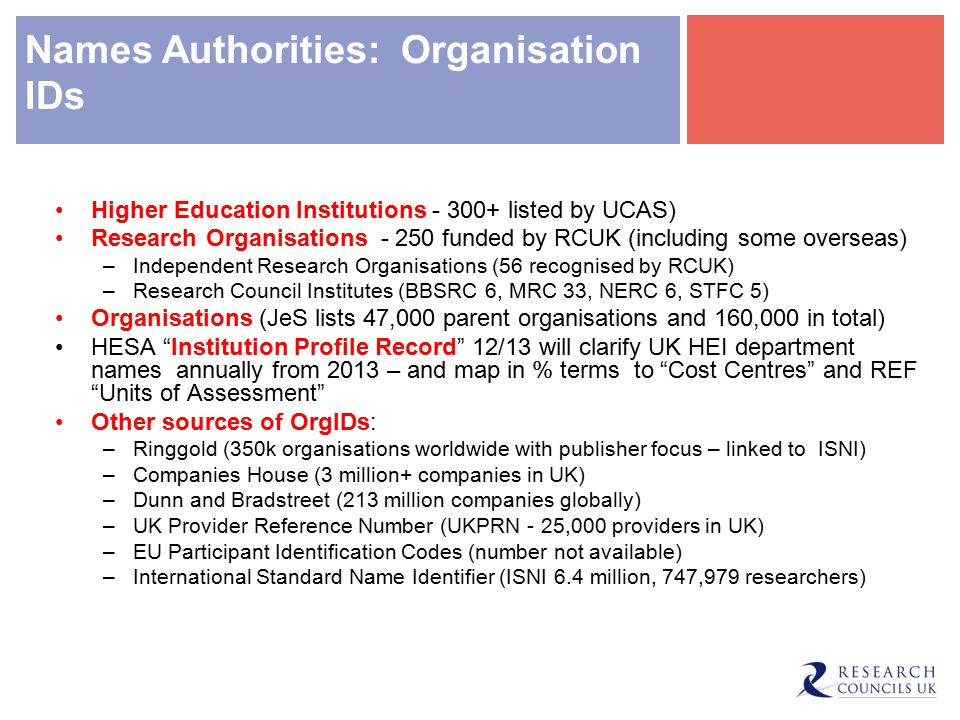 Names Authorities: Organisation IDs Higher Education Institutions - 300+ listed by UCAS) Research Organisations - 250 funded by RCUK (including some overseas) –Independent Research Organisations (56 recognised by RCUK) –Research Council Institutes (BBSRC 6, MRC 33, NERC 6, STFC 5) Organisations (JeS lists 47,000 parent organisations and 160,000 in total) HESA Institution Profile Record 12/13 will clarify UK HEI department names annually from 2013 – and map in % terms to Cost Centres and REF Units of Assessment Other sources of OrgIDs: –Ringgold (350k organisations worldwide with publisher focus – linked to ISNI) –Companies House (3 million+ companies in UK) –Dunn and Bradstreet (213 million companies globally) –UK Provider Reference Number (UKPRN - 25,000 providers in UK) –EU Participant Identification Codes (number not available) –International Standard Name Identifier (ISNI 6.4 million, 747,979 researchers)