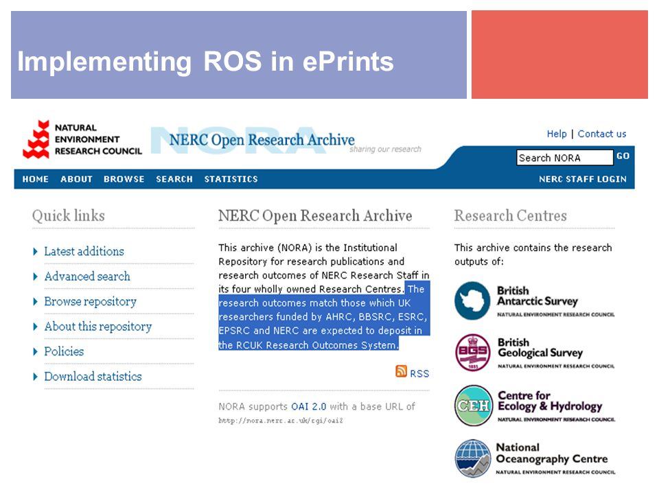 Implementing ROS in ePrints