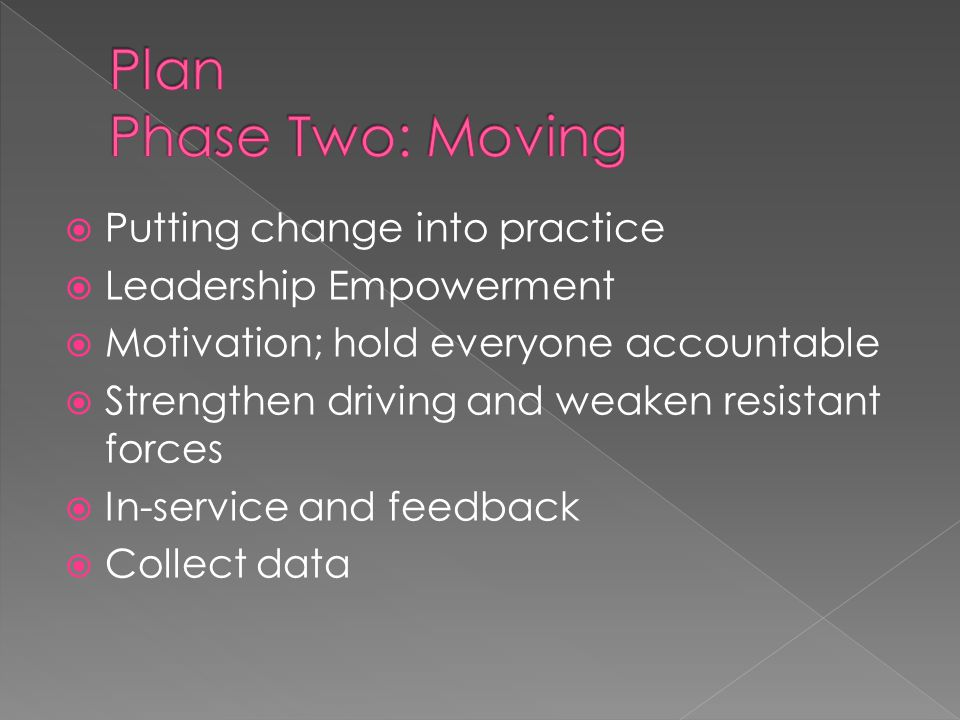  Putting change into practice  Leadership Empowerment  Motivation; hold everyone accountable  Strengthen driving and weaken resistant forces  In-service and feedback  Collect data