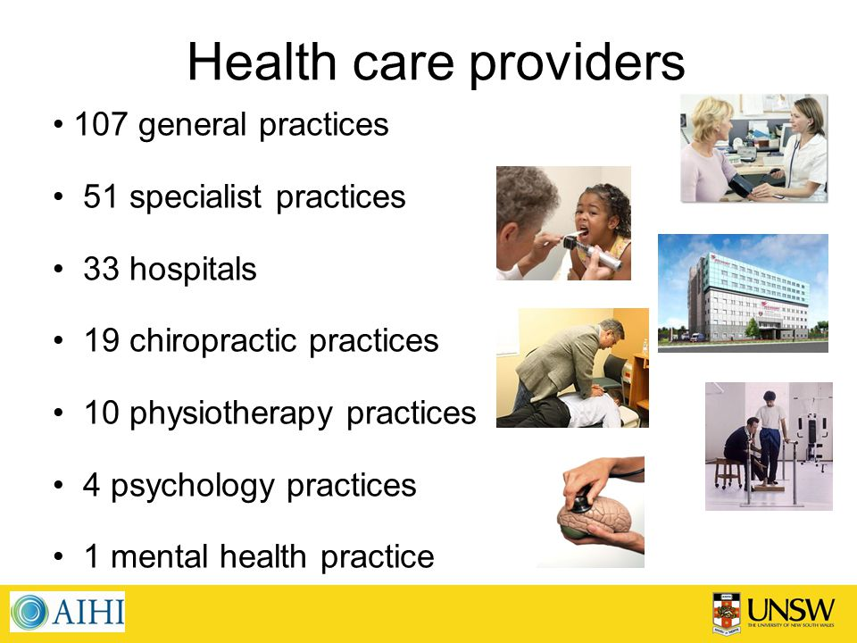 Health care providers 107 general practices 51 specialist practices 33 hospitals 19 chiropractic practices 10 physiotherapy practices 4 psychology practices 1 mental health practice