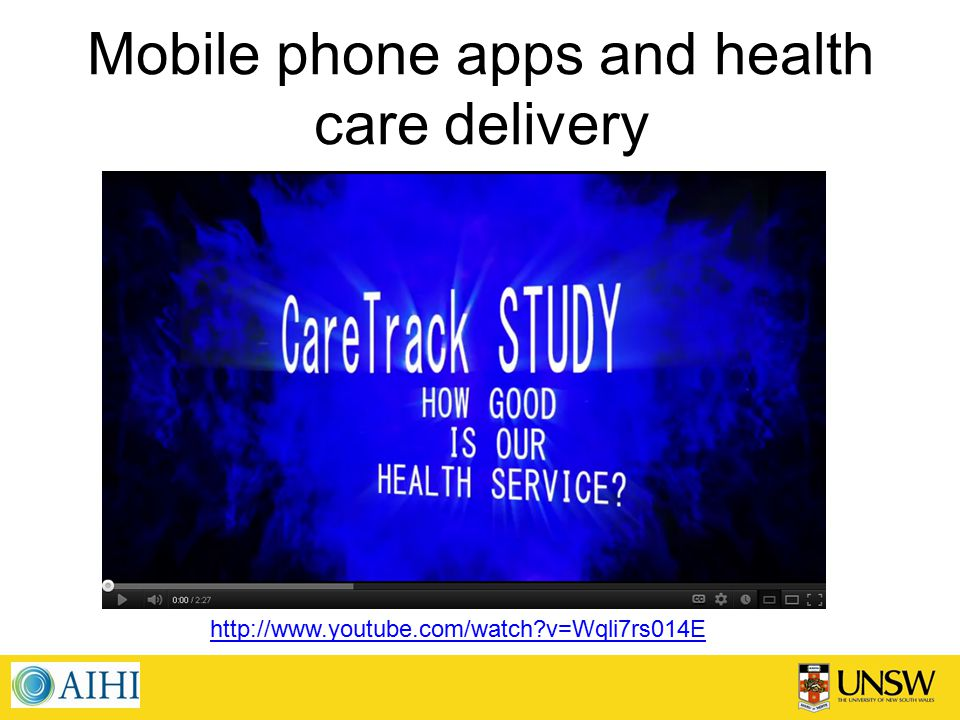 Mobile phone apps and health care delivery http://www.youtube.com/watch?v=Wqli7rs014E