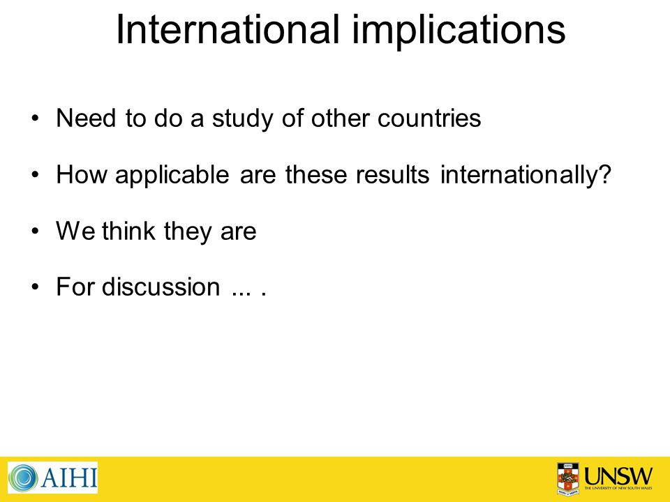 International implications Need to do a study of other countries How applicable are these results internationally.