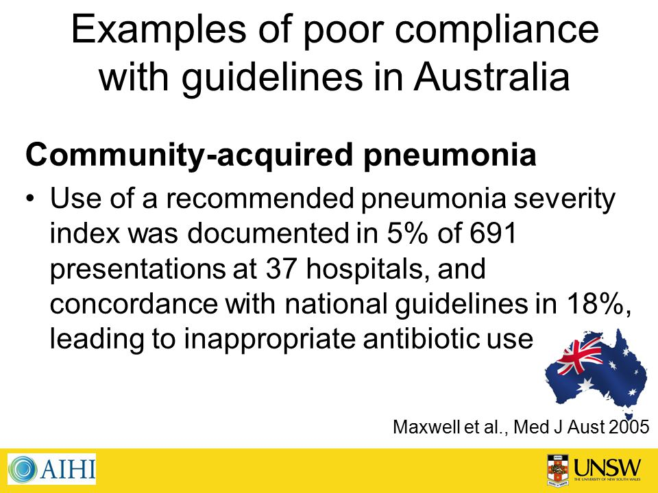 Examples of poor compliance with guidelines in Australia Community-acquired pneumonia Use of a recommended pneumonia severity index was documented in 5% of 691 presentations at 37 hospitals, and concordance with national guidelines in 18%, leading to inappropriate antibiotic use Maxwell et al., Med J Aust 2005
