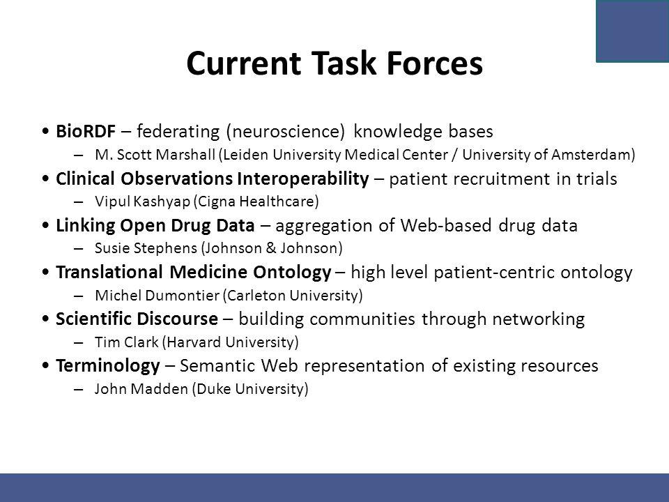 Current Task Forces BioRDF – federating (neuroscience) knowledge bases – M. Scott Marshall (Leiden University Medical Center / University of Amsterdam