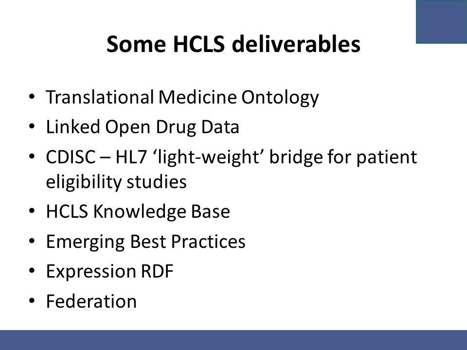 Some HCLS deliverables Translational Medicine Ontology Linked Open Drug Data CDISC – HL7 'light-weight' bridge for patient eligibility studies HCLS Kn