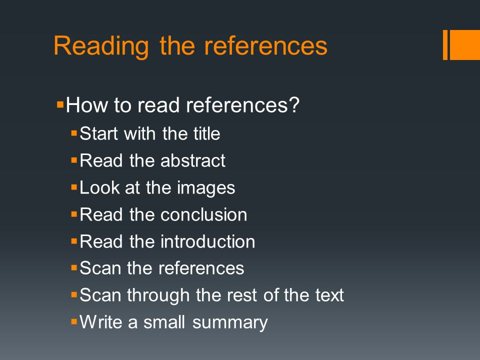 Reading the references  How to read references.