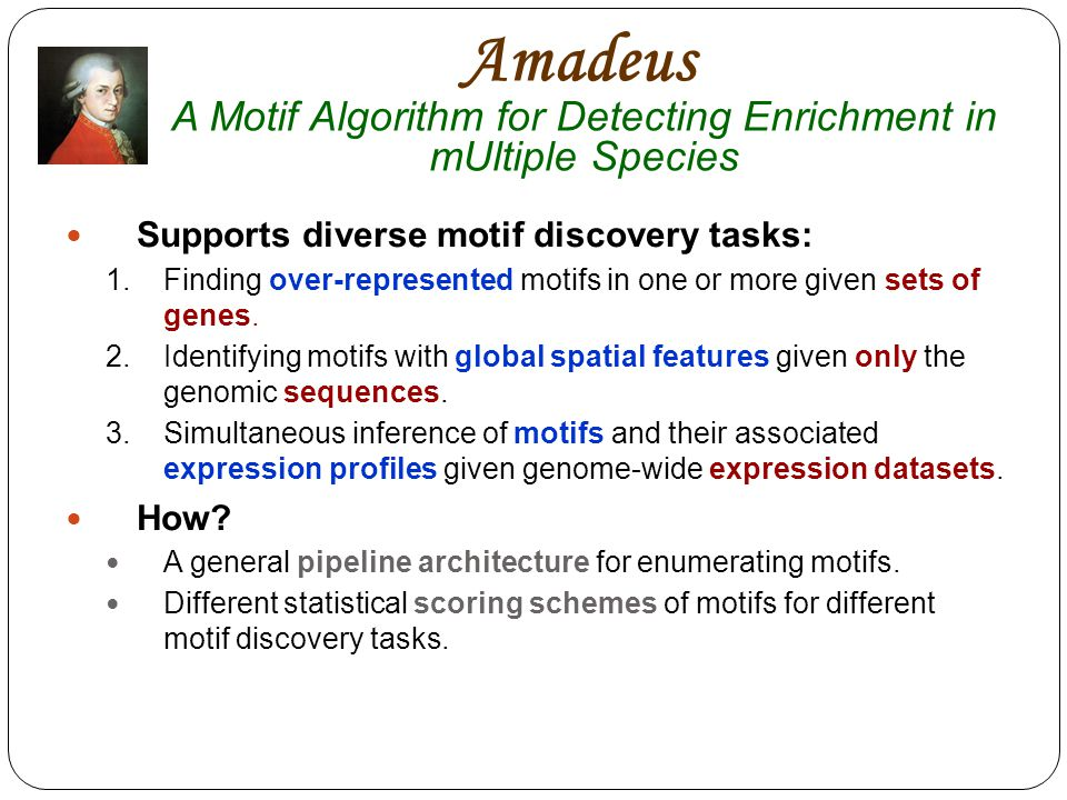 Amadeus A Motif Algorithm for Detecting Enrichment in mUltiple Species Supports diverse motif discovery tasks: 1.Finding over-represented motifs in one or more given sets of genes.
