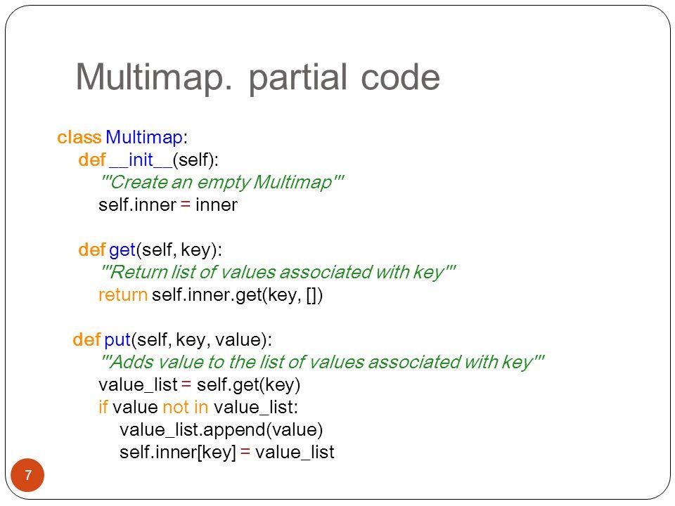Multimap. partial code 7 class Multimap: def __init__(self): '''Create an empty Multimap''' self.inner = inner def get(self, key): '''Return list of v