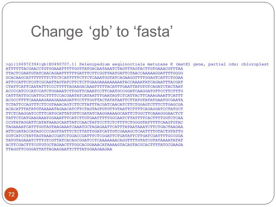 Change 'gb' to 'fasta' 72