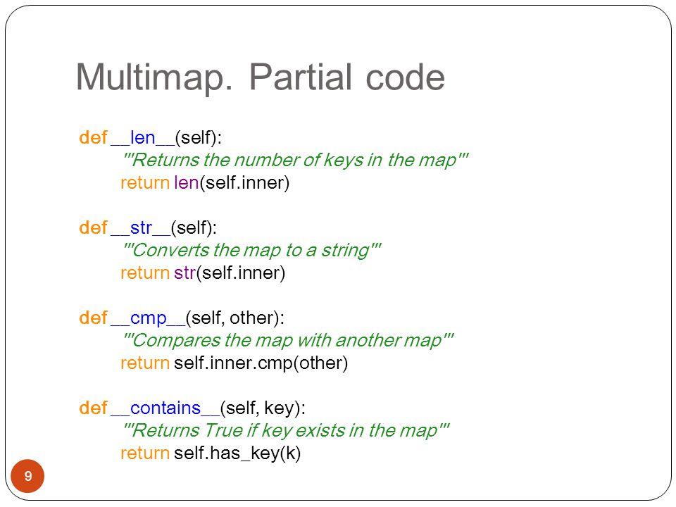 Multimap. Partial code 9 def __len__(self): '''Returns the number of keys in the map''' return len(self.inner) def __str__(self): '''Converts the map