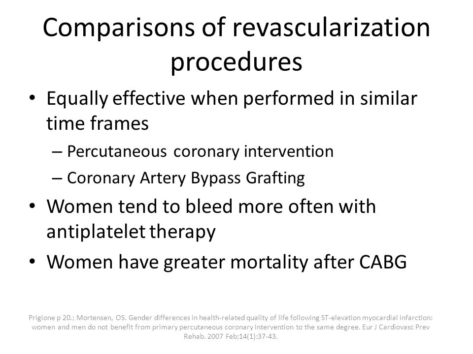 Comparisons of revascularization procedures Equally effective when performed in similar time frames – Percutaneous coronary intervention – Coronary Artery Bypass Grafting Women tend to bleed more often with antiplatelet therapy Women have greater mortality after CABG Prigione p 20.; Mortensen, OS.