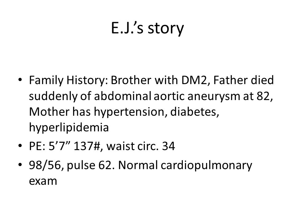 E.J.'s trip to the hospital Total cholesterol 223; Triglycerides 243; HDL 34; LDL 124 EKG with ST elevation Troponin I: peak of 9.3 (normal <0.5) Cath with LAD lesion of 20-30% stenosis Echo normal Cardiac CT normal Thrombolysis was given