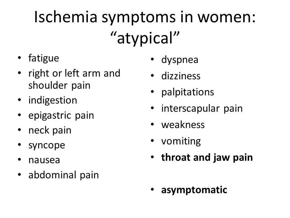 Ischemia symptoms in women: atypical fatigue right or left arm and shoulder pain indigestion epigastric pain neck pain syncope nausea abdominal pain dyspnea dizziness palpitations interscapular pain weakness vomiting throat and jaw pain asymptomatic