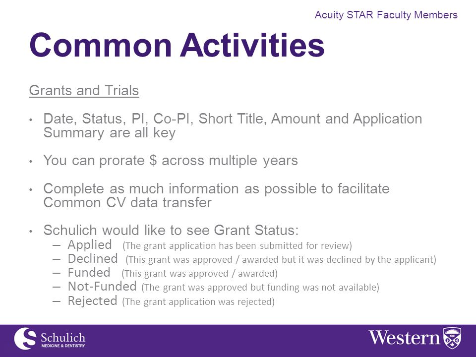Acuity STAR Faculty Members Common Activities Grants and Trials Date, Status, PI, Co-PI, Short Title, Amount and Application Summary are all key You c