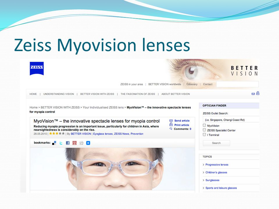 Zeiss Myovision lenses