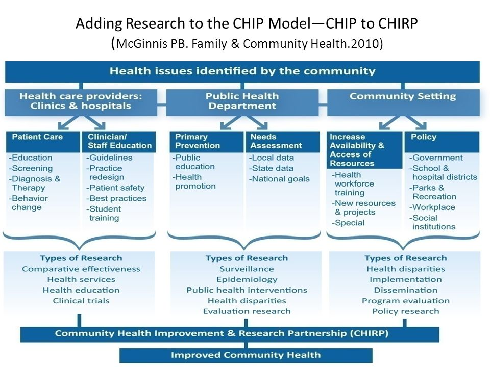 Adding Research to the CHIP Model—CHIP to CHIRP ( McGinnis PB. Family & Community Health.2010)