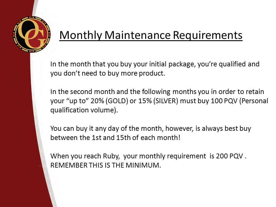 In the month that you buy your initial package, you're qualified and you don't need to buy more product. In the second month and the following months