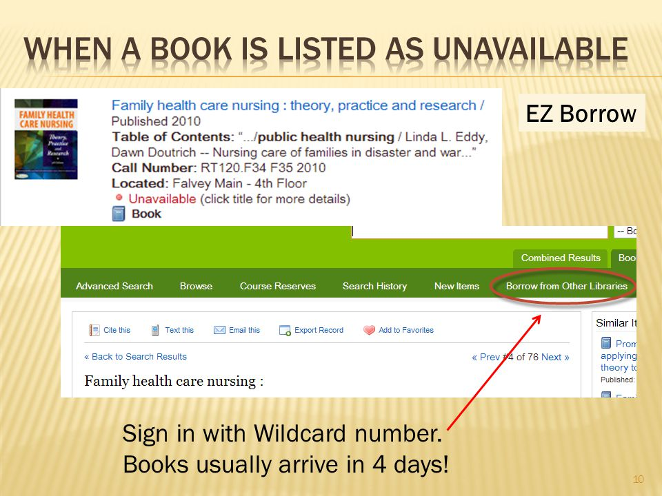 EZ Borrow Sign in with Wildcard number. Books usually arrive in 4 days! 10