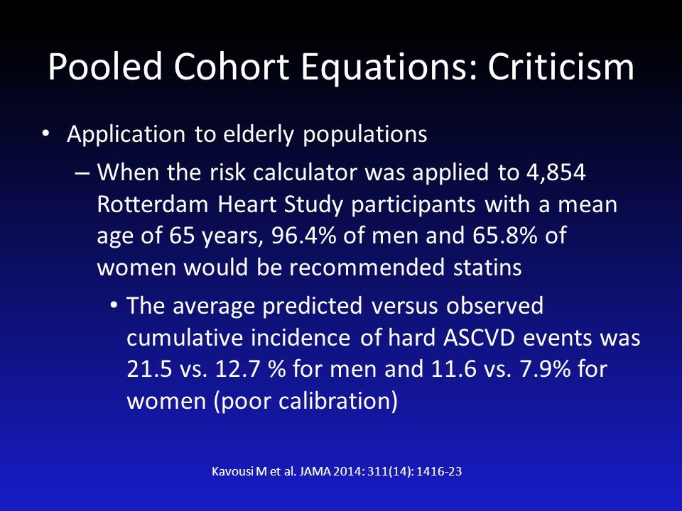 Pooled Cohort Equations: Criticism Application to elderly populations – When the risk calculator was applied to 4,854 Rotterdam Heart Study participan