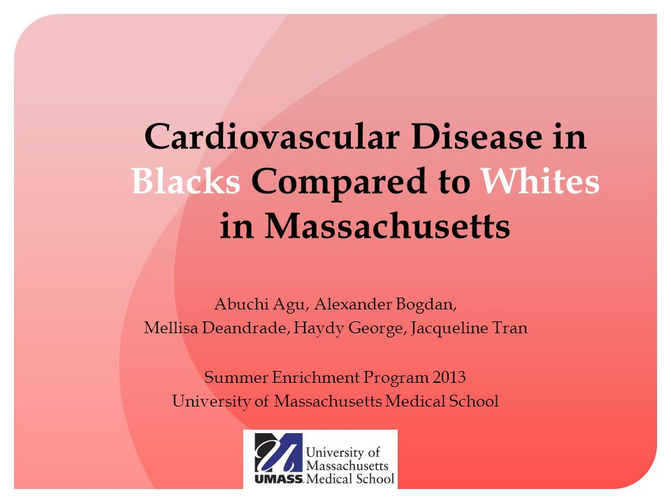Cardiovascular Disease in Blacks Compared to Whites in Massachusetts Abuchi Agu, Alexander Bogdan, Mellisa Deandrade, Haydy George, Jacqueline Tran Summer Enrichment Program 2013 University of Massachusetts Medical School
