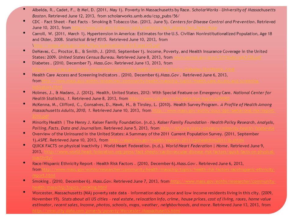 Albelda, R., Cadet, F., & Mei, D. (2011, May 1). Poverty in Massachusetts by Race. ScholarWorks - University of Massachusetts Boston. Retrieved June 1