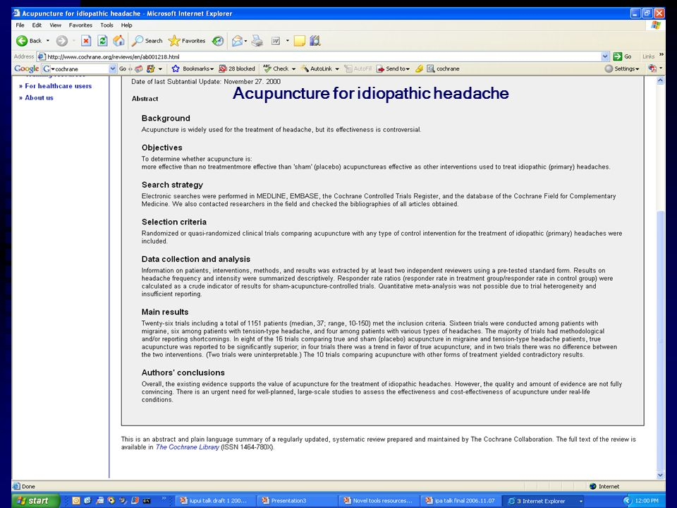 Acupuncture for idiopathic headache