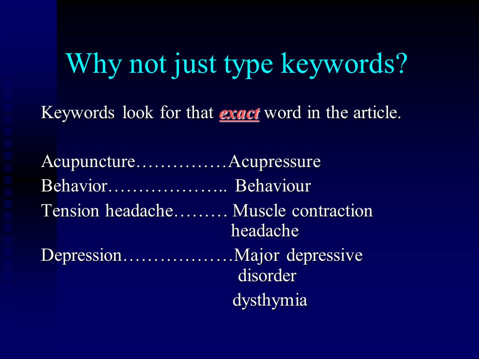 Why not just type keywords.Keywords look for that exact word in the article.