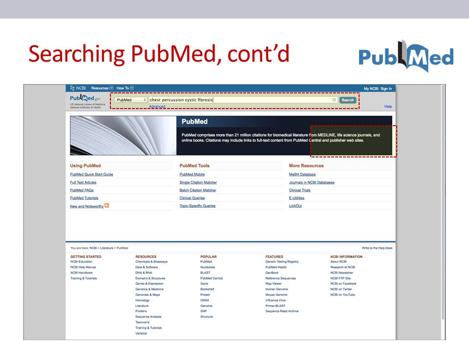 Searching PubMed, cont'd