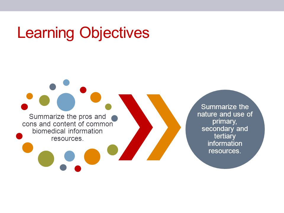 Learning Objectives Summarize the pros and cons and content of common biomedical information resources. Summarize the nature and use of primary, secon