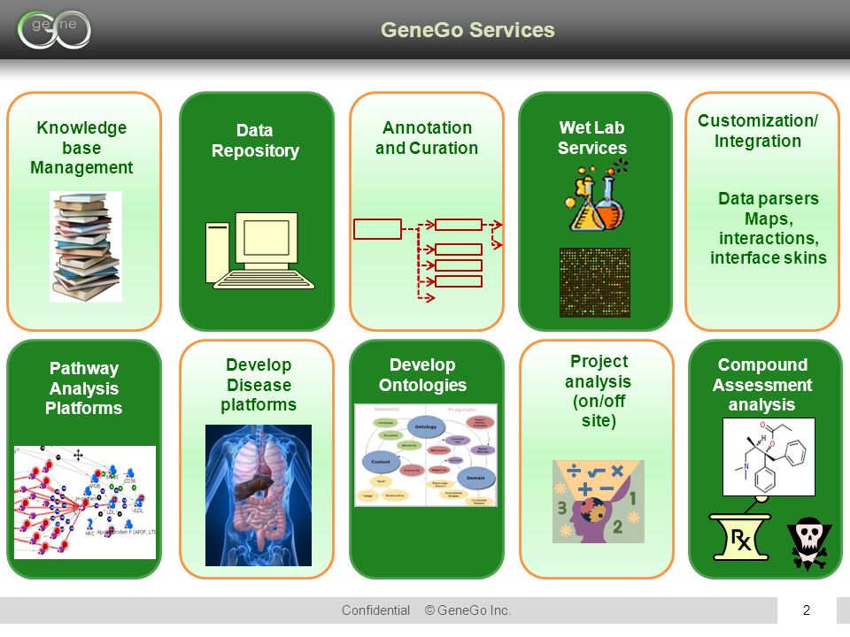 Confidential © GeneGo Inc.2 GeneGo Services Knowledge base Management Pathway Analysis Platforms Develop Ontologies Develop Disease platforms Annotation and Curation Data Repository Project analysis (on/off site) Wet Lab Services Data parsers Maps, interactions, interface skins Customization/ Integration Compound Assessment analysis