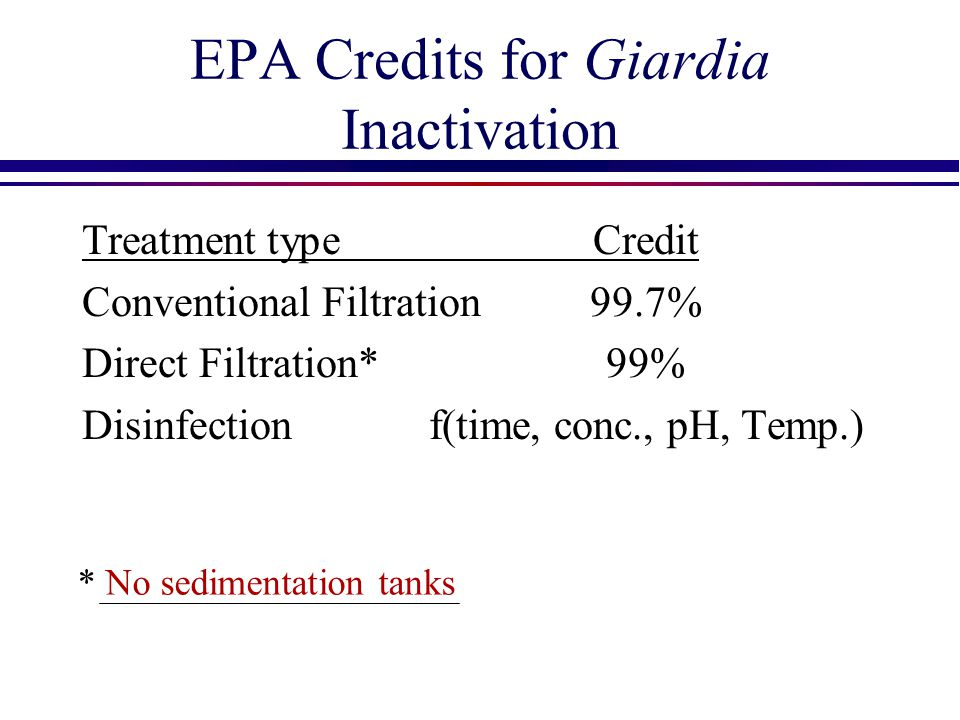EPA Credits for Giardia Inactivation Treatment typeCredit Conventional Filtration99.7% Direct Filtration*99% Disinfectionf(time, conc., pH, Temp.) * N