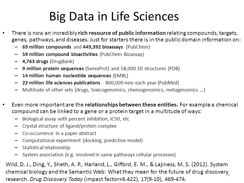 Big Data in Life Sciences There is now an incredibly rich resource of public information relating compounds, targets, genes, pathways, and diseases. J