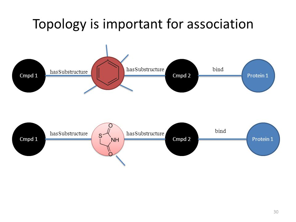 Topology is important for association Cmpd 1Protein 1Cmpd 2 Cmpd 1Protein 1Cmpd 2 hasSubstructure bind 30
