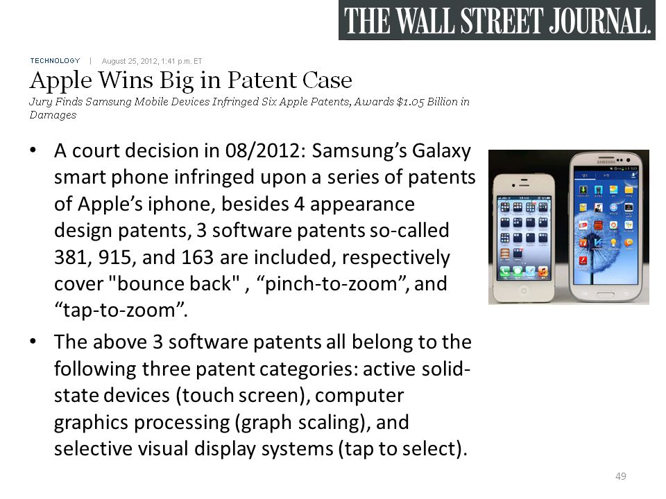 A court decision in 08/2012: Samsung's Galaxy smart phone infringed upon a series of patents of Apple's iphone, besides 4 appearance design patents, 3