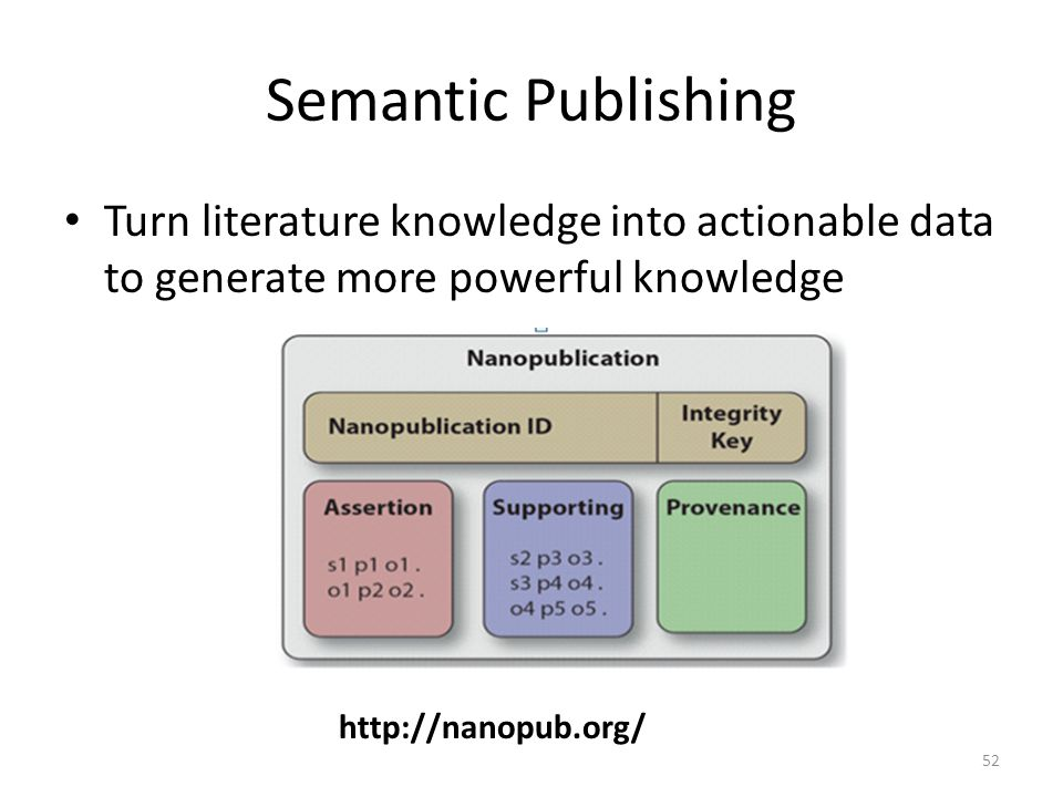 Semantic Publishing Turn literature knowledge into actionable data to generate more powerful knowledge 52 http://nanopub.org/