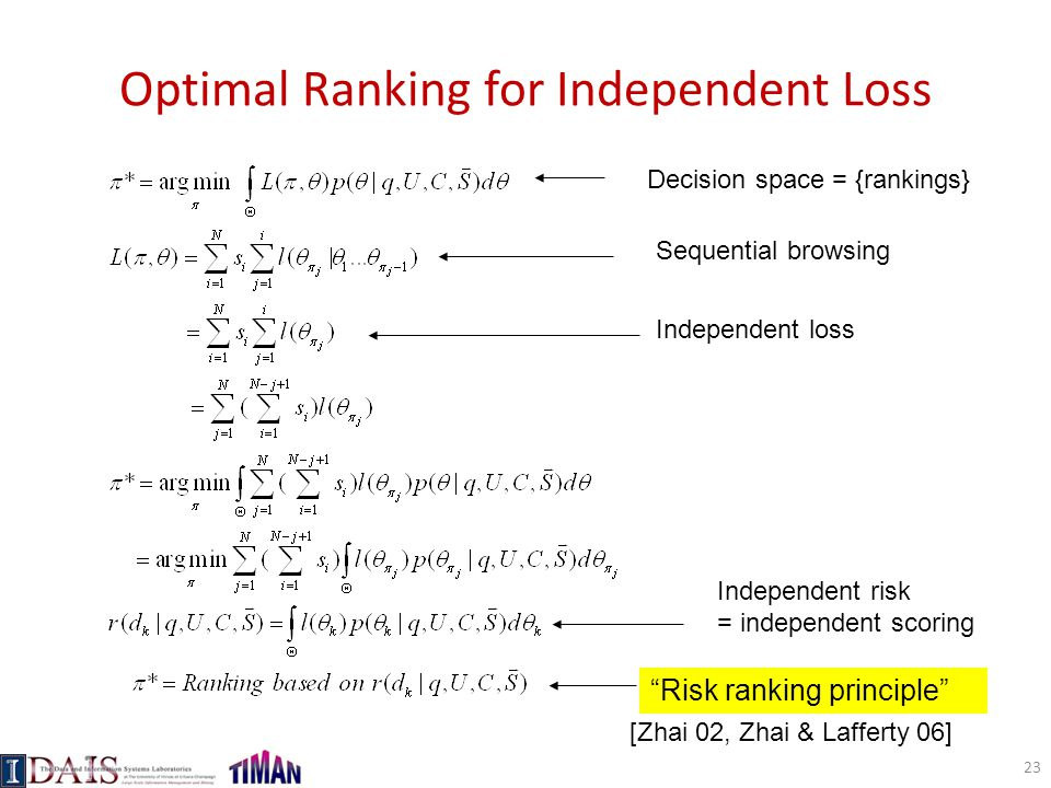 """Optimal Ranking for Independent Loss Decision space = {rankings} Sequential browsing Independent loss Independent risk = independent scoring """"Risk ran"""
