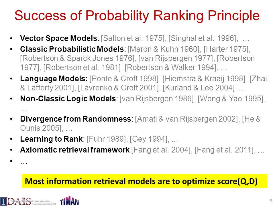 Success of Probability Ranking Principle Vector Space Models: [Salton et al. 1975], [Singhal et al. 1996], … Classic Probabilistic Models: [Maron & Ku