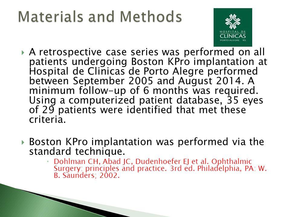  A retrospective case series was performed on all patients undergoing Boston KPro implantation at Hospital de Clinicas de Porto Alegre performed betw