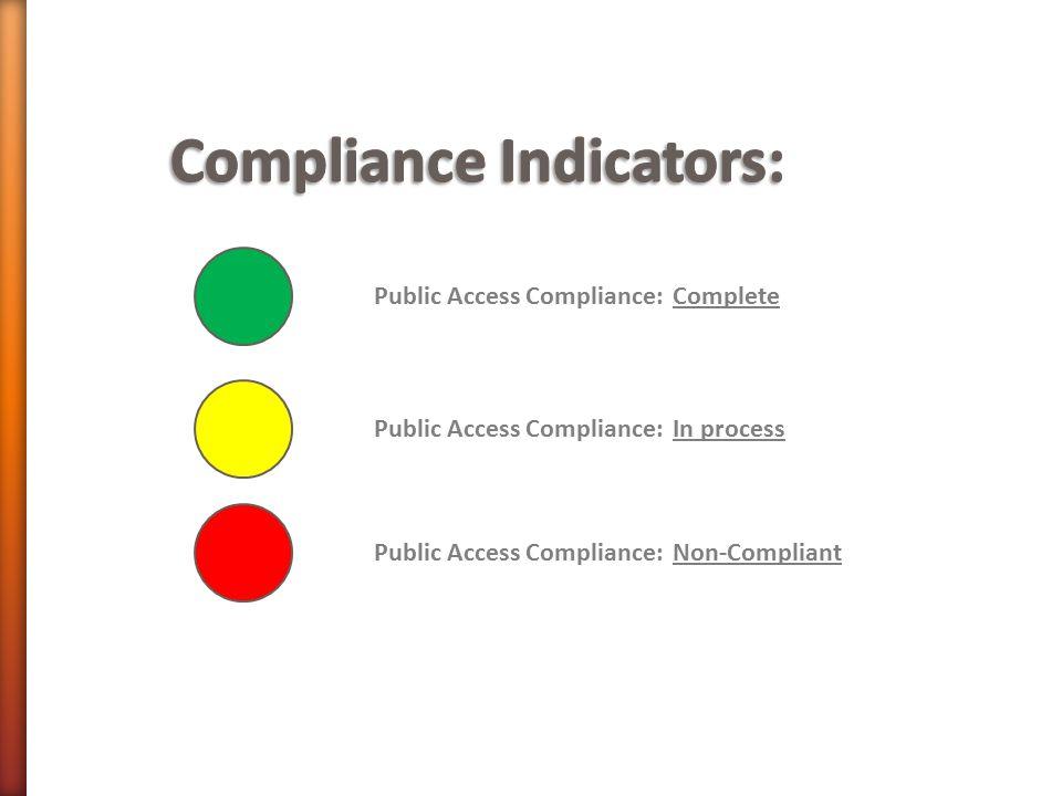 Public Access Compliance: Non-Compliant Public Access Compliance: In process Public Access Compliance: Complete