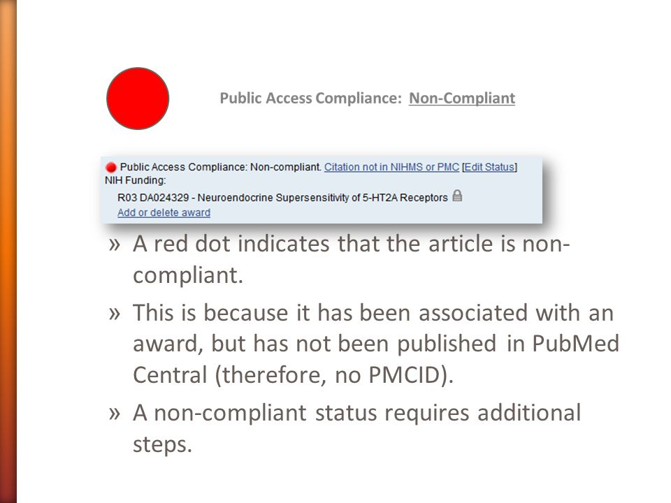 » A red dot indicates that the article is non- compliant.