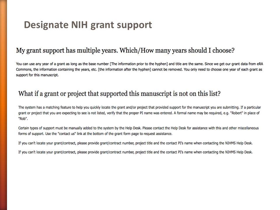 Designate NIH grant support