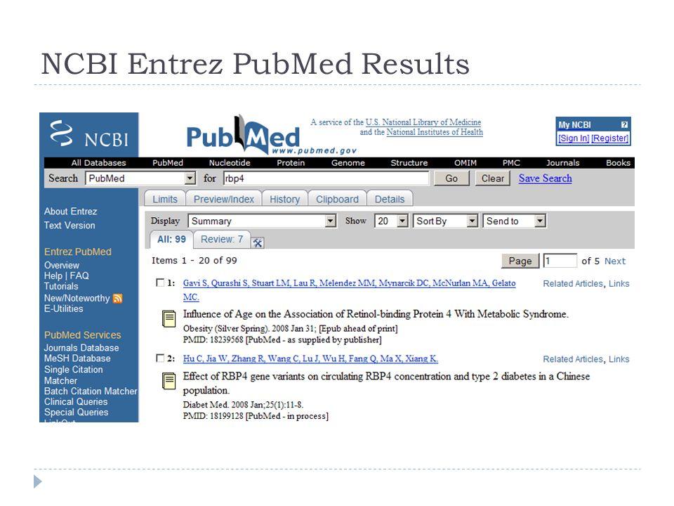 NCBI Entrez PubMed Results