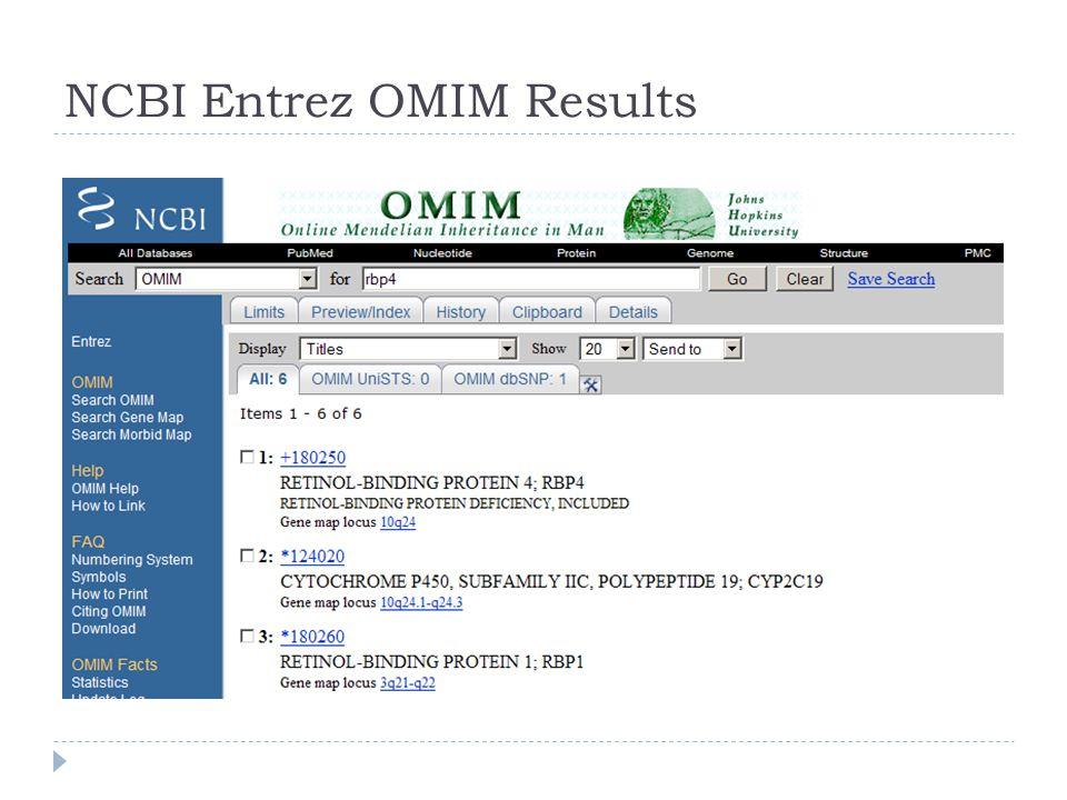 NCBI Entrez OMIM Results