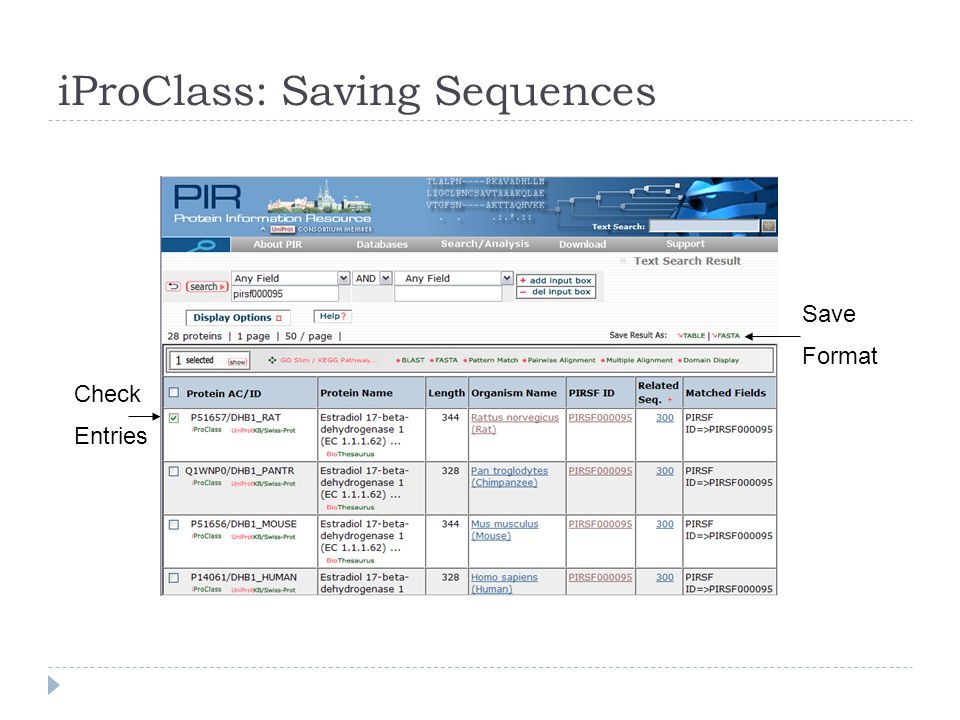 iProClass: Saving Sequences Check Entries Save Format