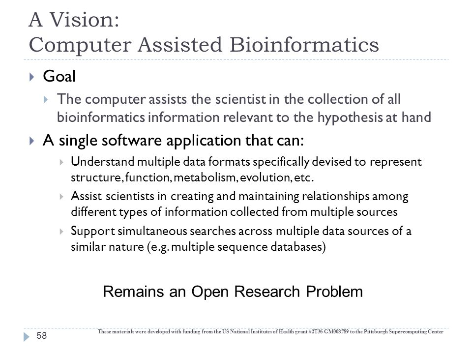 A Vision: Computer Assisted Bioinformatics  Goal  The computer assists the scientist in the collection of all bioinformatics information relevant to the hypothesis at hand  A single software application that can:  Understand multiple data formats specifically devised to represent structure, function, metabolism, evolution, etc.